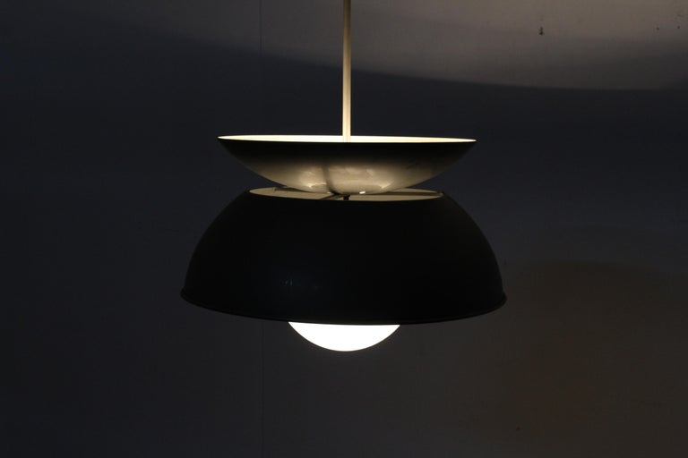 Midcentury Vico Magistretti Metal Cetra Hanging Lamp Artemide, Italy, 1960 For Sale 10