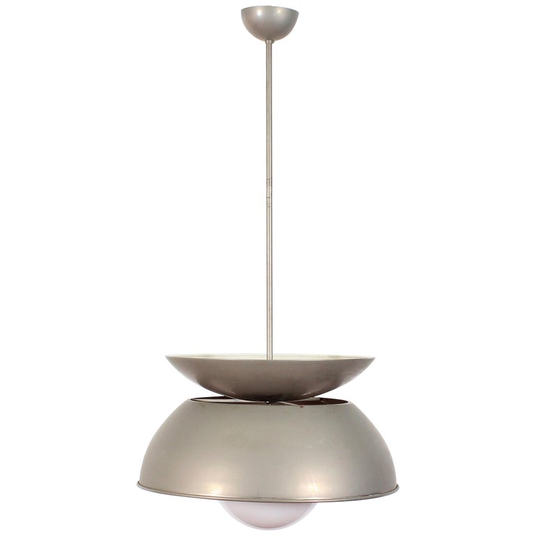 Midcentury Vico Magistretti Metal Cetra Hanging Lamp Artemide, Italy, 1960 For Sale