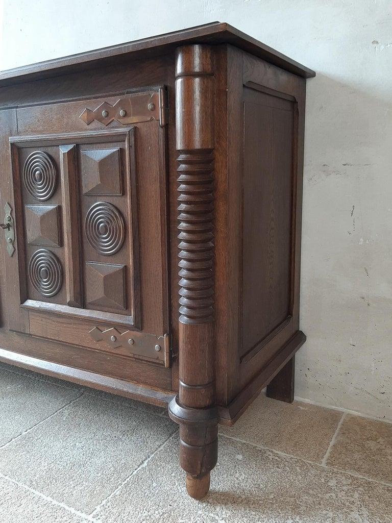 Midcentury Vintage Art Deco Oak Sideboard, Credenza by Charles Dudouyt 5