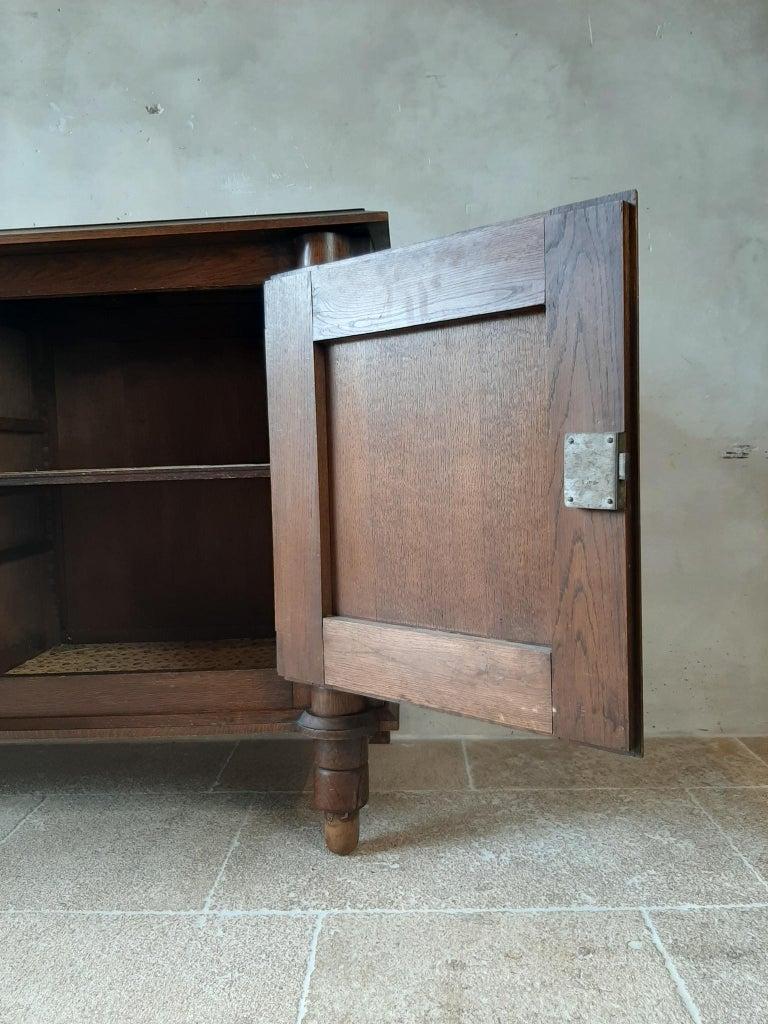 Midcentury Vintage Art Deco Oak Sideboard, Credenza by Charles Dudouyt 9