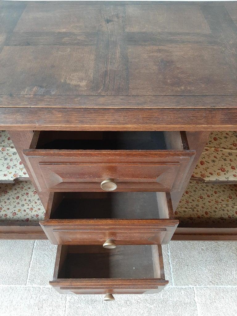 Midcentury Vintage Art Deco Oak Sideboard, Credenza by Charles Dudouyt 11