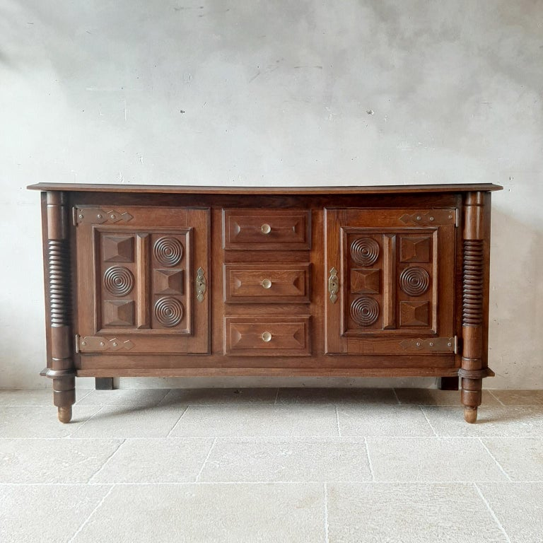French Midcentury Vintage Art Deco Oak Sideboard, Credenza by Charles Dudouyt