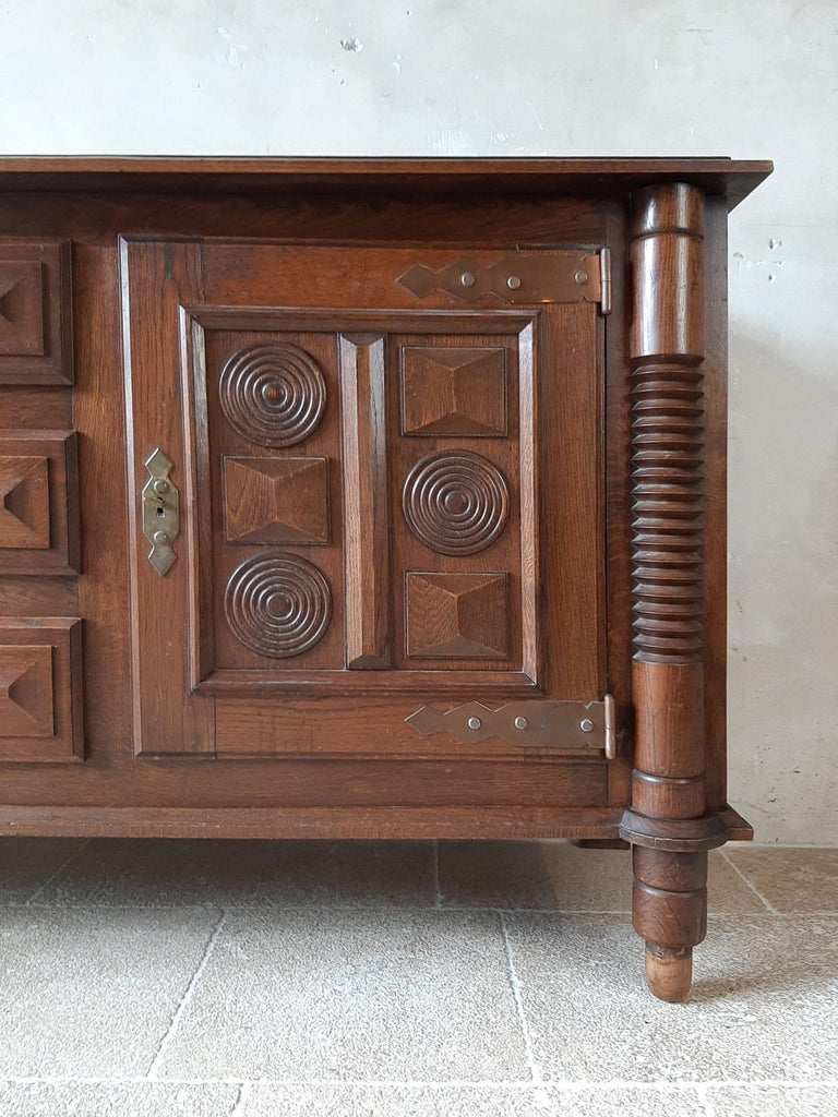 Midcentury Vintage Art Deco Oak Sideboard, Credenza by Charles Dudouyt In Good Condition In Baambrugge, NL