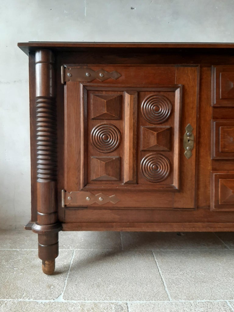 Mid-20th Century Midcentury Vintage Art Deco Oak Sideboard, Credenza by Charles Dudouyt