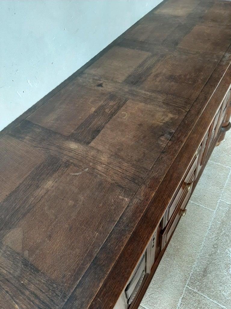Midcentury Vintage Art Deco Oak Sideboard, Credenza by Charles Dudouyt 2