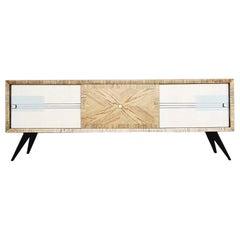 Vintage Asche Sideboard mit handgemaltem Muster, Mitte des Jahrhunderts, 1960er