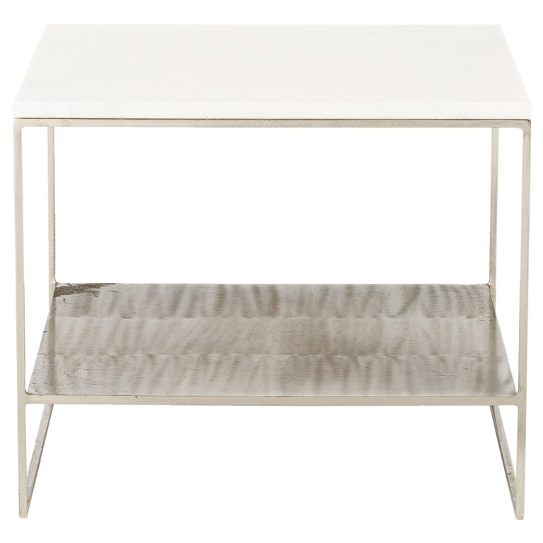 Mid-Century Vintage Belgian Steel and White Marble End Table For Sale