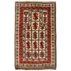 Midcentury Vintage Beluch Rug with All-Over Diamond Pattern in Red and Charcoal