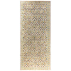 Midcentury Vintage Botanic Spanish Handmade Wool Carpet