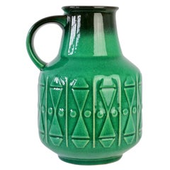 Midcentury Vintage Bright Green West German Vase by Gräflich Pottery, circa 1970