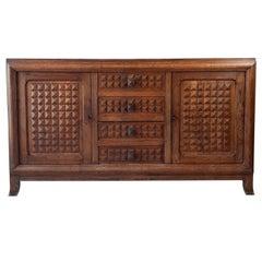 Midcentury Vintage Brown Oak Sideboard, Credenza by Charles Dudouyt