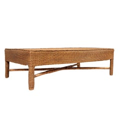 Midcentury Vintage Burmese Rattan Coffee Table with X-Form Cross Stretcher