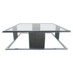 Midcentury Vintage Chrome and Glass Large Square Coffee Table