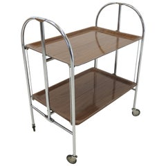 Midcentury Vintage Chrome and Laminated Wood Folding Serving Trolley, 1950s