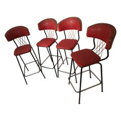 Midcentury Vintage circa 1950 Tall High Back Bar Stools