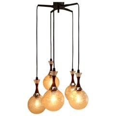 Midcentury Vintage Dutch 5-Globe Hanging Pendant Light, 1965