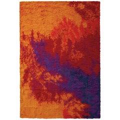 Midcentury Vintage Ege Rug All-Over Orange Red Purple Wool Shag Pile