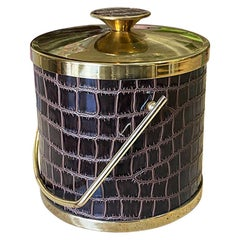 Midcentury Vintage Faux Alligator and Chrome Ice Bucket in Maroon Brown