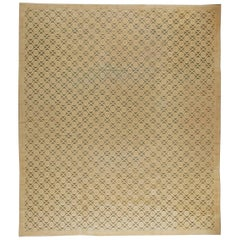 Midcentury Vintage French Modernist Handwoven Wool Rug in shades of Beige