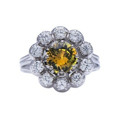 Midcentury, Vintage, French, Platinum, Chrysoberyl and Diamond Cluster Ring