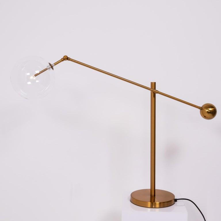 Mid-Century Modern Midcentury Italian Style Brass Globe Table Lamp For Sale