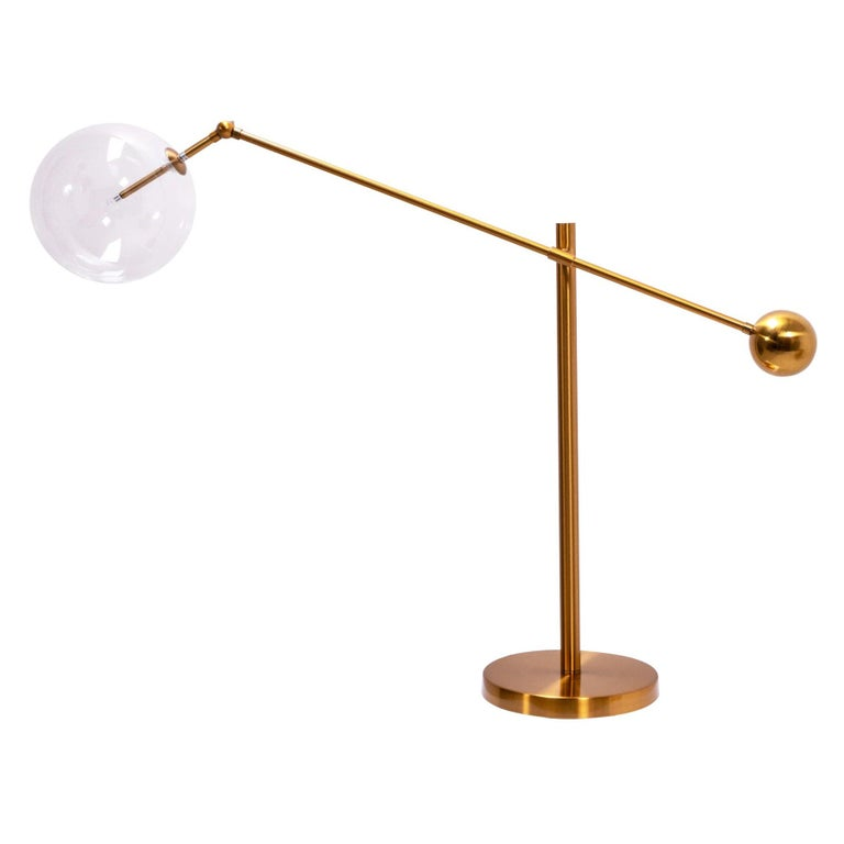 Midcentury Italian Style Brass Globe Table Lamp For Sale