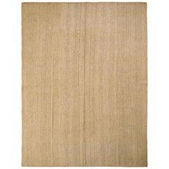 Midcentury Vintage Kilim Cream Beige Stripe Wool Flat-Weave Jajim Rug