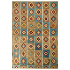 Midcentury Vintage Kilim Rug Beige Brown and Blue All-Over Diamond Pattern