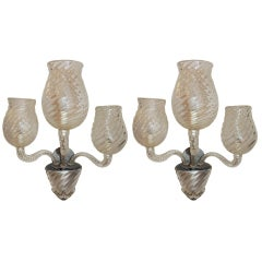 Midcentury Vintage Murano Art Glass Modern Transitional Large Wall Sconces, Pair
