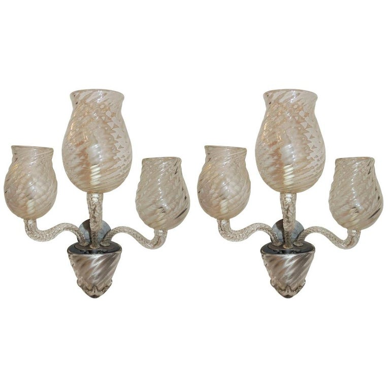 Midcentury Vintage Murano Art Glass Modern Transitional Large Wall Sconces, Pair For Sale