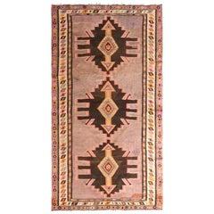 Midcentury Vintage Persian Kilim Rug in Lavender and Beige Geometric Pattern
