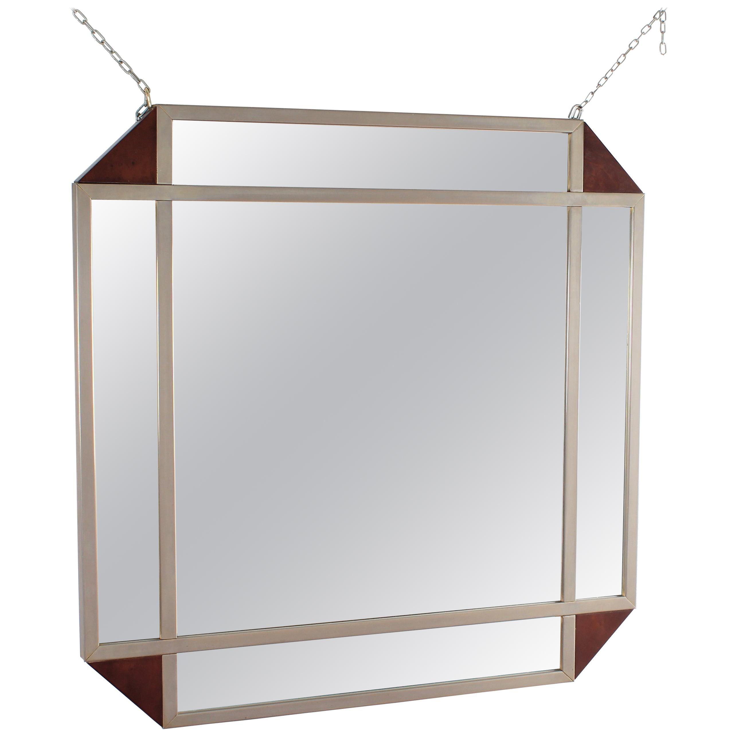 Midcentury Vintage R. Rega Metal and Wood Wall Mirrors, Italy, 1950s