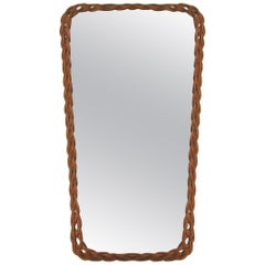 Midcentury Vintage Rectangular French Rattan Wall Mirror, 1950s