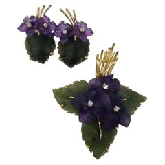 Midcentury Vintage Set of Pin and Earrings Features Carved Amethyst and Nephrite