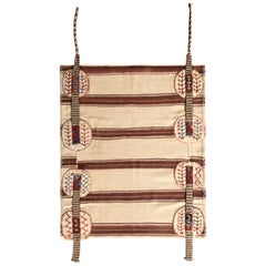 Midcentury Vintage Striped Kilim Beige Brown Bag Rug