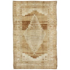 Midcentury Vintage Turkish Rug with Central Medallion in Brown and Ivory