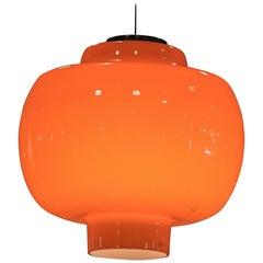 Midcentury Vistosi Murano Italy Orange Chandelier, circa 1960
