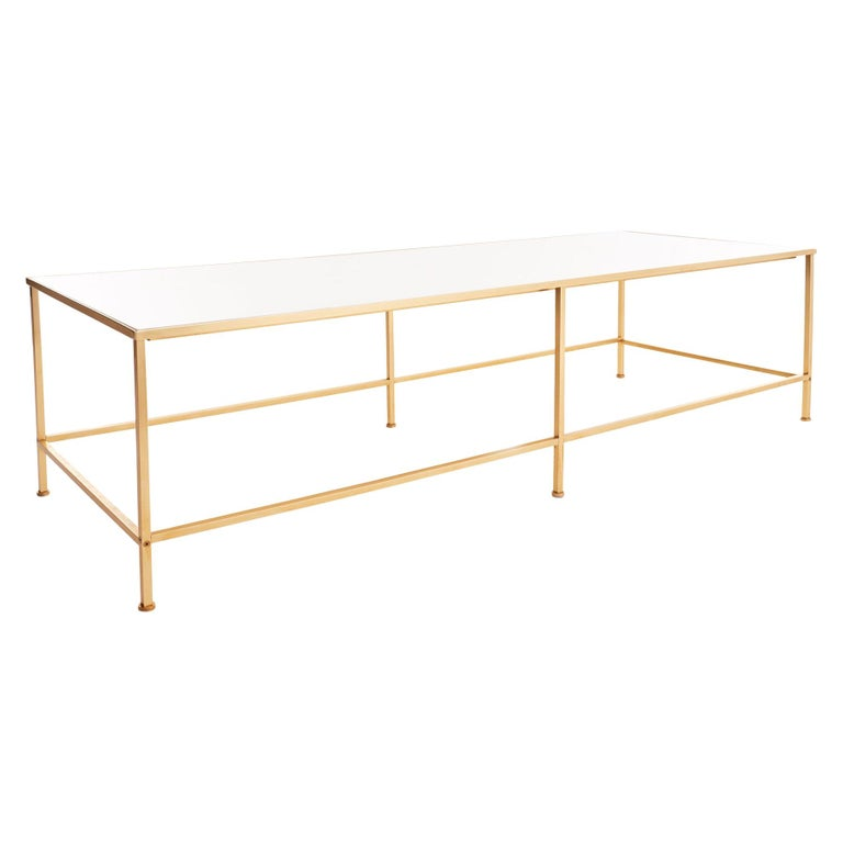 Midcentury Vitrolite and Brass Coffee Table For Sale