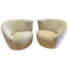 Midcentury Vladimir Kagan Nautilus Corkscrew Swivel Chairs New Upholstery, Pair