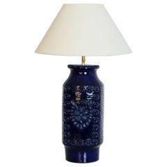 Midcentury W. Germany Blue Ceramic Vase Table Lamp