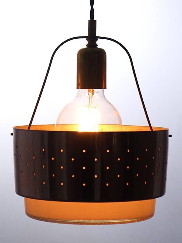 American Midcentury Waffle Glass Lamp For Sale