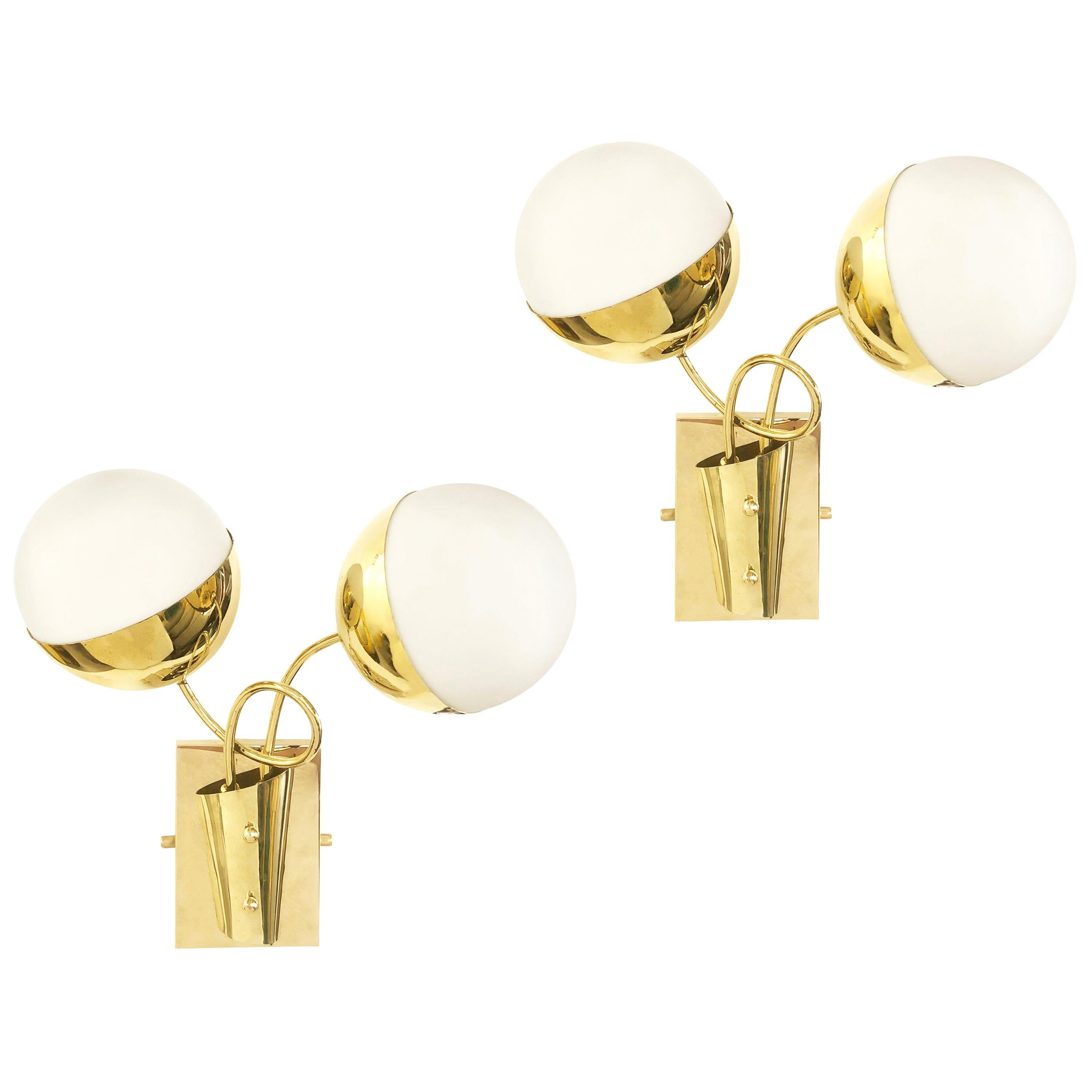 Midcentury Wall Lights with Two Globes