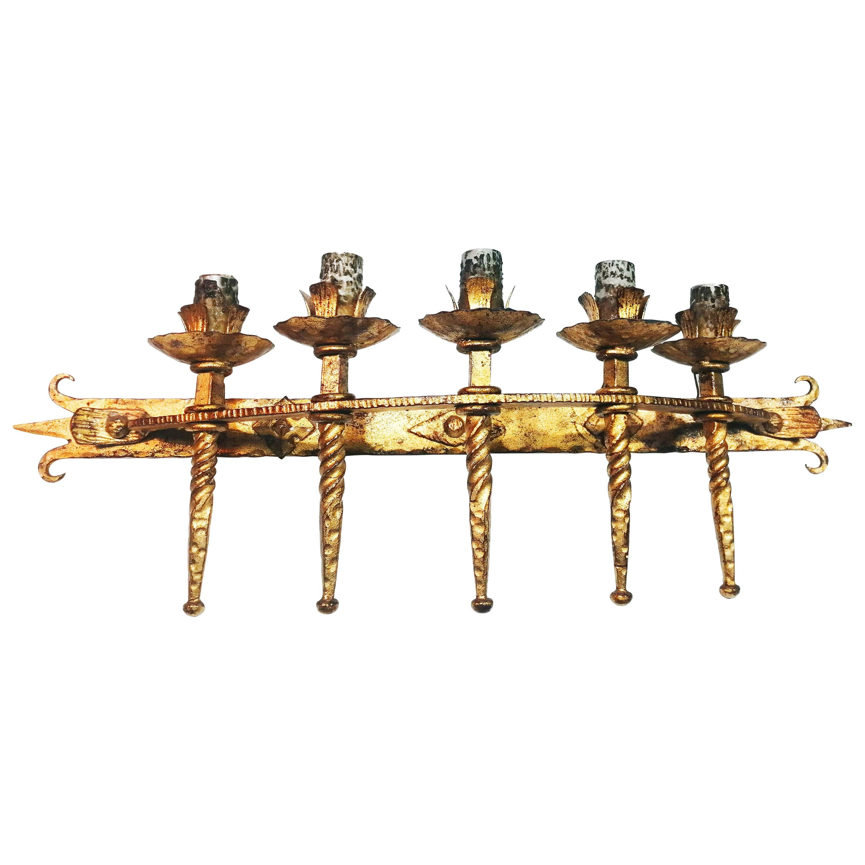 Spanish Brutalist Large Torch Wall Sconce in Gilt Wrought Iron