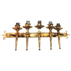 Wall Lights Torch Row Gold Wrought Iron Spain, 1950s