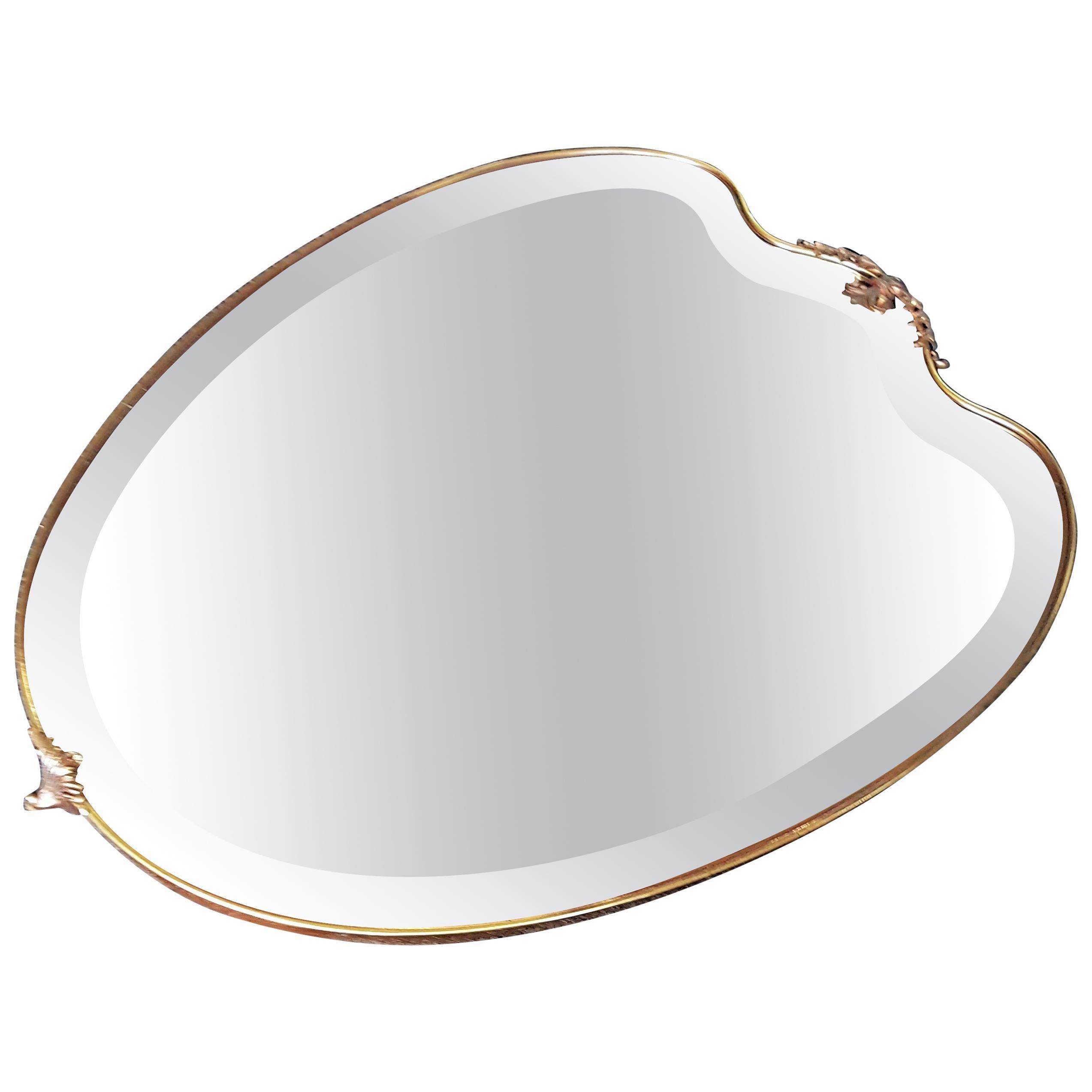 Midcentury Wall Mirror Brass, Shield Shaped, Style Ponti, Italy, 1950s
