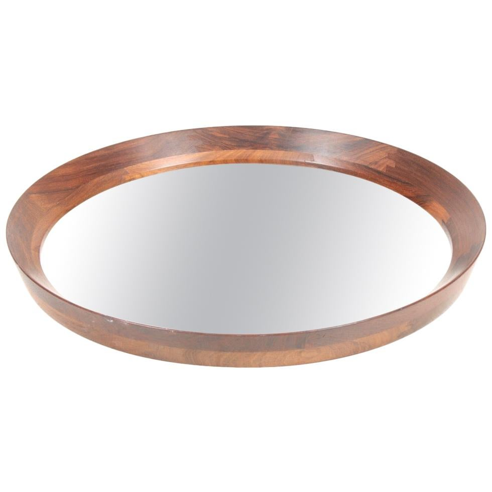 Midcentury Wall Mirror in Rosewood, Made in Denmark, 1950s