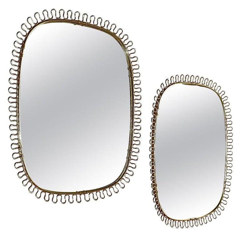 Midcentury Wall Mirrors by Josef Frank for Svenskt Tenn Sweden Brass 1950s, Pair For Sale
