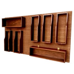 Midcentury Wall-Mounted Walnut Bar Cabinet in the Style of Gio Ponti, 1960s