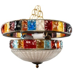 Midcentury Wall or Ceiling Fixture with Bands of Multicolored Glass