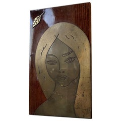 Midcentury Wall Plaque with Blonde Female, 1960s